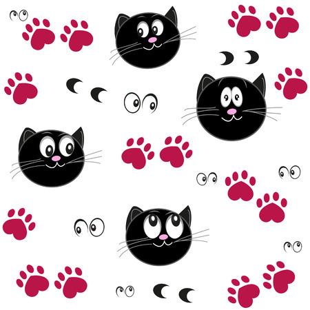Kattenpootafdruk met hartjes. Valentijnsdag achtergrond