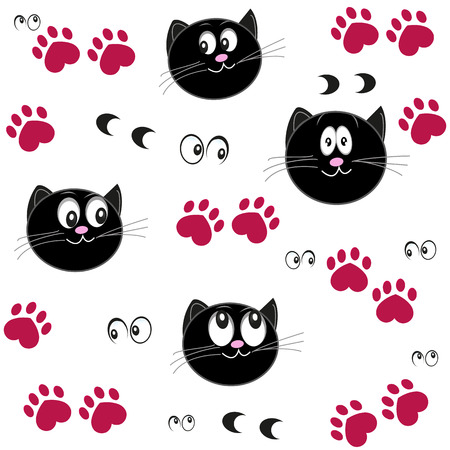 Cat paw print with hearts. Valentine day background