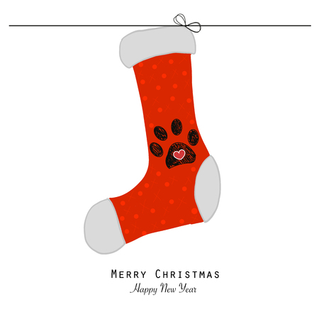 Christmas socks with paw prints. Merry Christmas and Happy New Year.