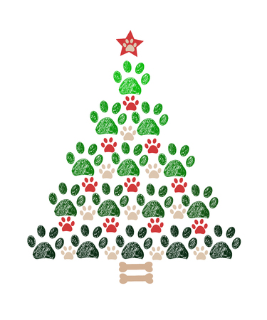 Christmas tree New year greeting card
