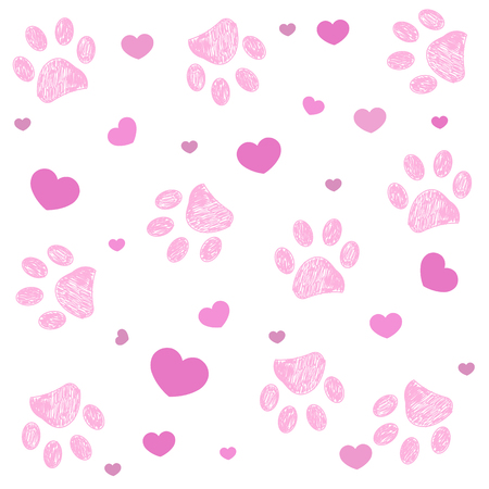 Pink paw print with hearts background Vectores