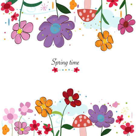 Spring time floral cute background. Colorful spring flowers and mushroom. Spring time background