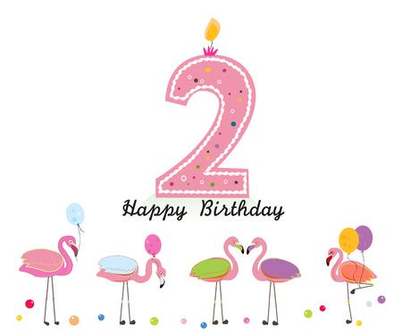 Deux bougies. Joyeux deuxième anniversaire bougie lettre. Oiseaux exotiques. Ensemble de poses différentes. Flamant coloré