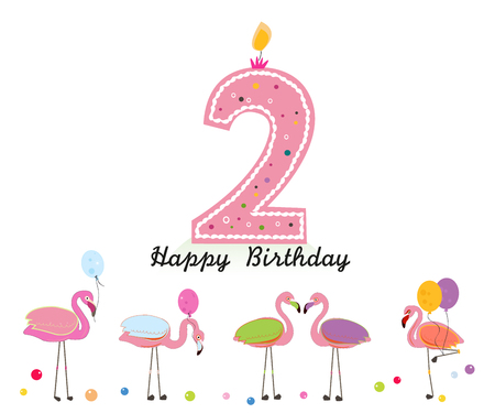 Two candles. Happy second birthday candle letter. Exotic birds. Set of different poses. Colorful Flamingo
