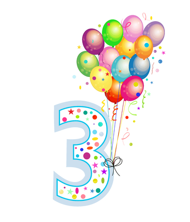 Happy third birthday candle. Three numbered balloon. Colorful balloons. Greeting card background