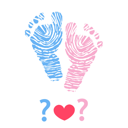 Baby foot print. Baby gender reveal symbol Stock Illustratie