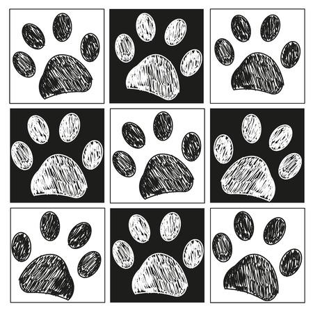 Doodle paw print pattern Stockfoto - 112532834