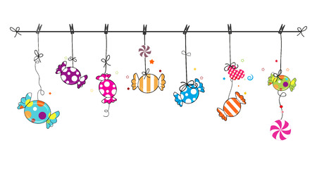 Hanging colorful sweet candy. Traditional candies for Seker Bayram. Greeting Card background