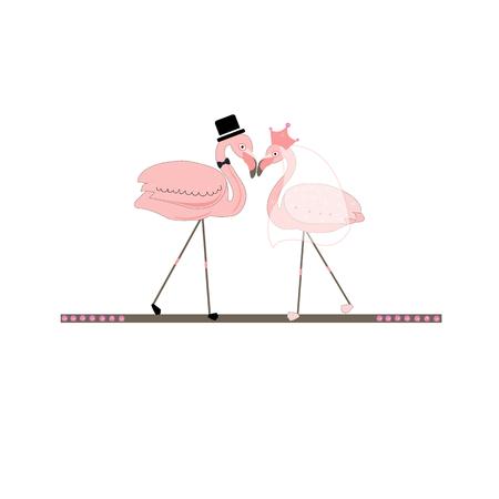 Flamingos. Bride groom. Wedding invitation