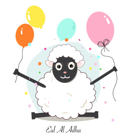 Funny sheep with colorful balloon. Islamic festival of sacrifice, eid al adha celebration background Illustration