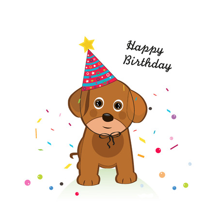 Dog with balloon and confetti. Happy birthday greeting card Ilustração