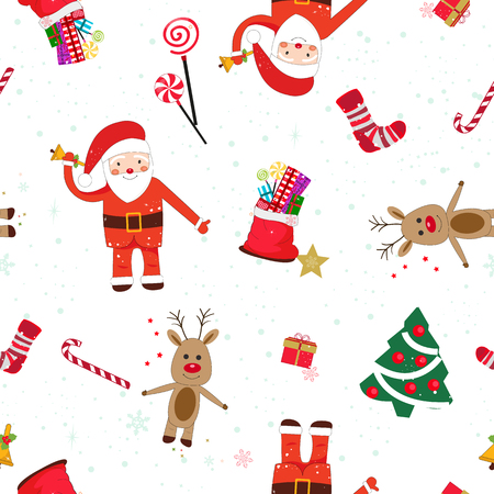 New year theme seamless white pattern. Santa Claus and New Year Gift