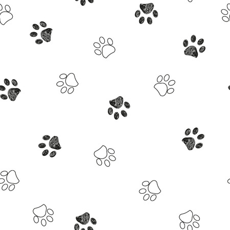 Black and white paw print repeated pattern Stock Illustratie