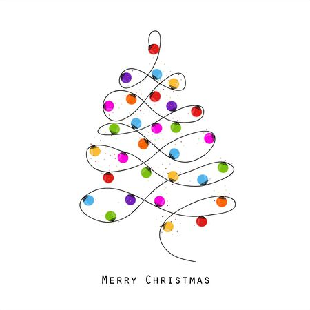 Colorful Christmas tree made of light bulb new year greeting card vector