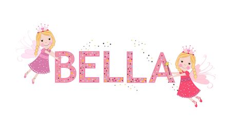Bella female name with cute fairy tale  イラスト・ベクター素材