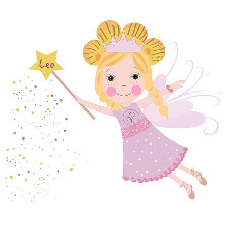 Leo zodiac sign astrological Cute fairytale vector