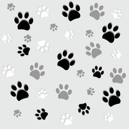 Black and white paw print with gray background