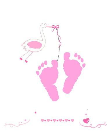 Baby girl and foot prints with stork Illusztráció