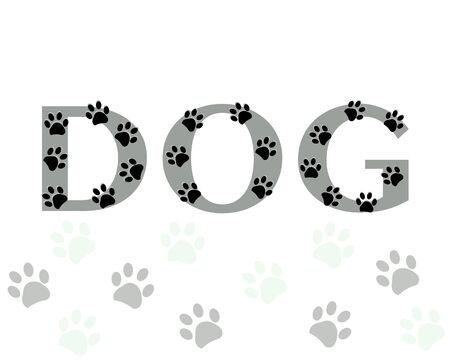 Dog text with paw print vector background Stock Illustratie