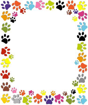 Paw prints colorful frame