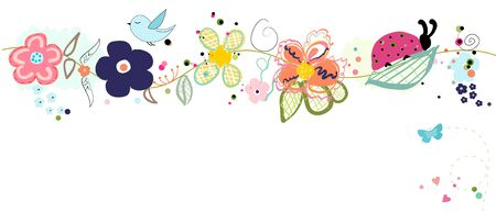 Colorful lovely spring banner vector. Butterfly, ladybug, vector background