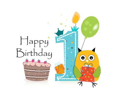 First birthday greeting card. Cute owl, balloon and birthday cake vector background Illustration
