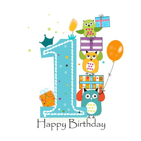 Happy first birthday with owls and gift box. Baby boy birthday greeting card vector illustration