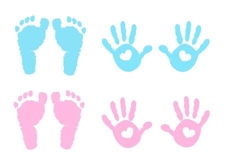Baby hand and foot print vector Vecteurs