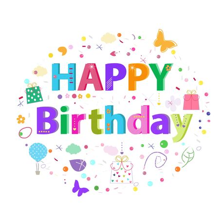 Happy Birthday circle greeting card with flowers Ilustração