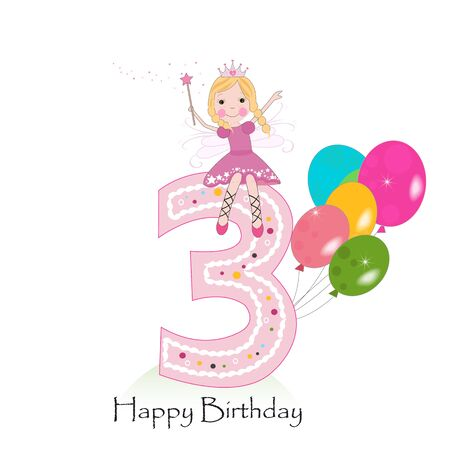 Happy third birthday greeting card with fairy tale Vettoriali