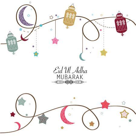 Islamic Festival of Sacrifice, Eid-Al-Adha celebration greeting card.Eid Al Adha mubarak poster. Hanging colorful lantern vector illustration Vector Illustration