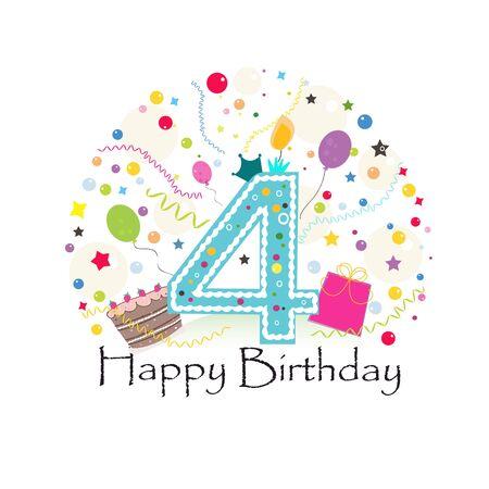 Fourth birthday greeting card. Birthday greeting card