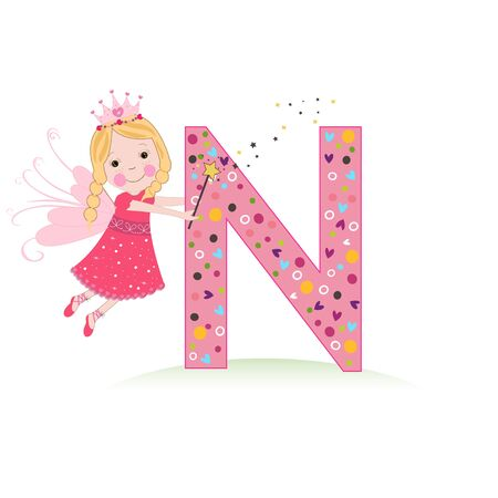 N letter with a cute fairy tale vector illustration