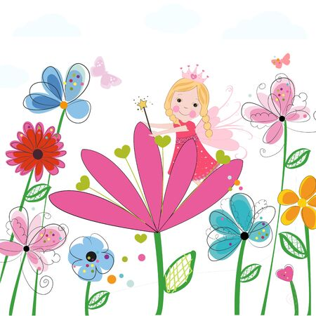 Summer flowers with cute fairy tale. Spring time floral background Illustration