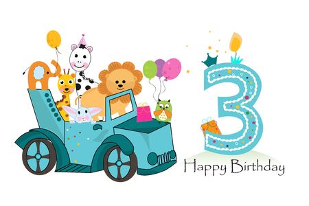Third birthday background with animals c. Birthday greeting card