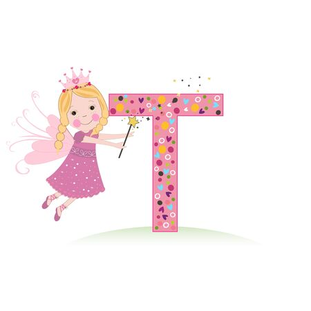 T letter with a cute fairy tale vector illustration Çizim