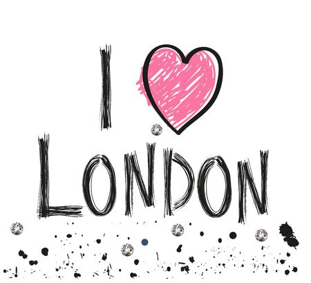 London hand drawn letter with sparkling dots poster design vector illustration
