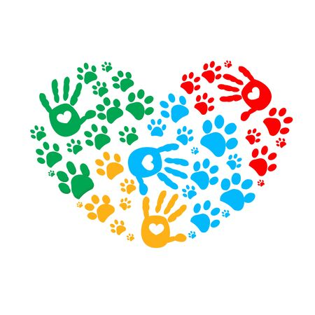 Paw and hand prints. Dog paw print and colorful heart vector illustration background