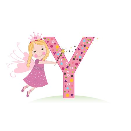 Y letter with a cute fairy tale