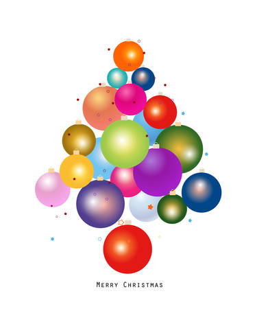 Colorful Christmas ball new year greeting card