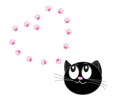 Cute cats with hearts and paw prints. '' Cat mom '' text happy Mother's day greeting card