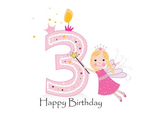 Happy third birthday candle. Baby girl greeting card with fairy tale vector background