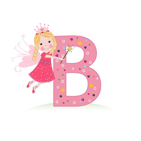 B letter with a cute fairy tale Çizim