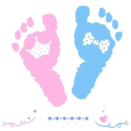 Twin baby girl and boy feet prints arrival greeting card with crown and tie bow vector