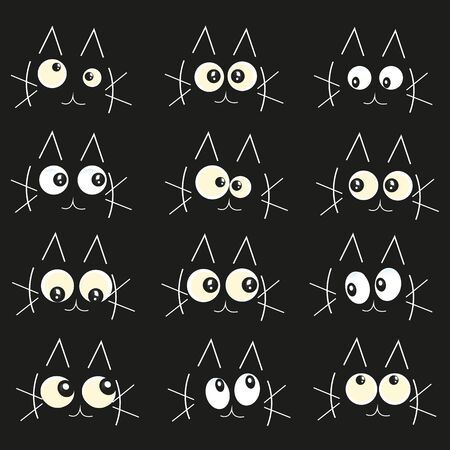Glowing in the dark cats eyes vector illustration background
