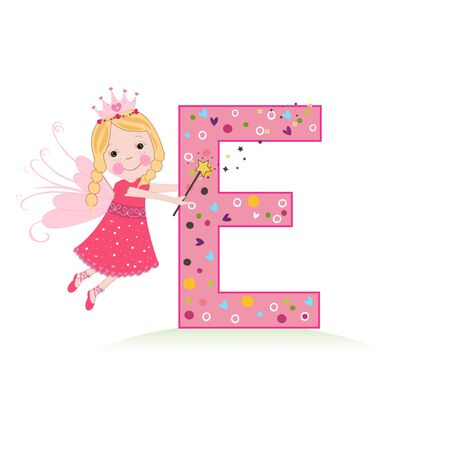 E letter with a cute fairy tale vector illustration