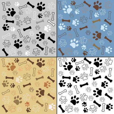 Dog paw and bone vector illustration pattern background wallpaper Stock Illustratie