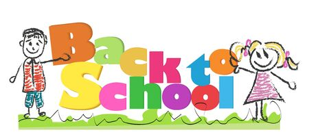 Back to school with doodle kids and colorful letters vector illustrations Иллюстрация