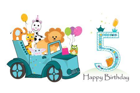 Fifth birthday car with animals background. Birthday greeting card