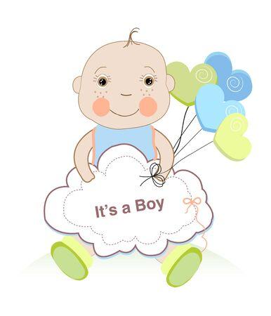cute sitting baby vector ?t's a boy Vektoros illusztráció